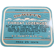 Vintage De Witt's Throat Lozenges Tin - 25c 60 Count Size
