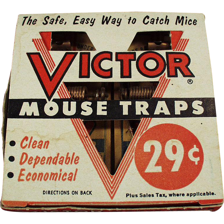 Vintage Victor Mouse Traps - 2 Pack with Original Box - Unused