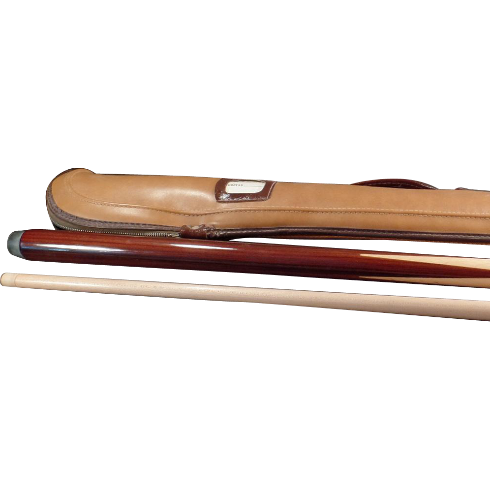 Old Cue Stick for Pool / Pocket Billiards - 2 Part Wood with Case