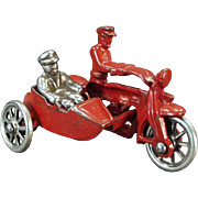 Vintage Cast Iron Toy - Cop Motorcycle with Sidecar and Rider - All Original