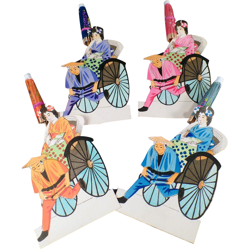 Vintage Paper Placecards - Japanese Geishas in Rickshaws
