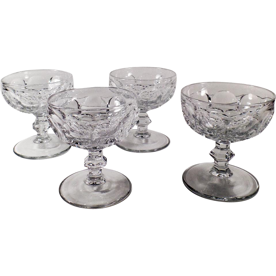 Vintage Heisey Sherbets - Set of 4 - #1506 Provincial Pattern - Clear
