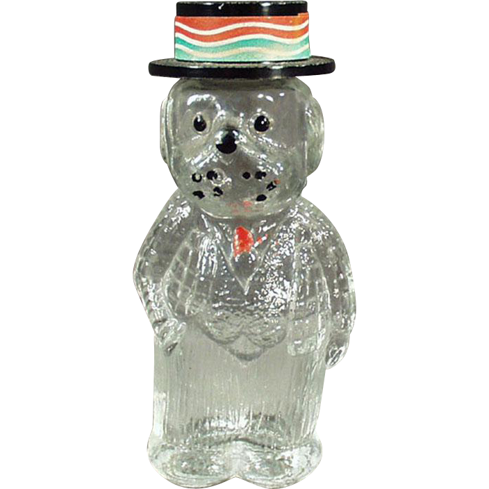 Vintage Figural Perfume Bottle - Dog Wearing a Hat