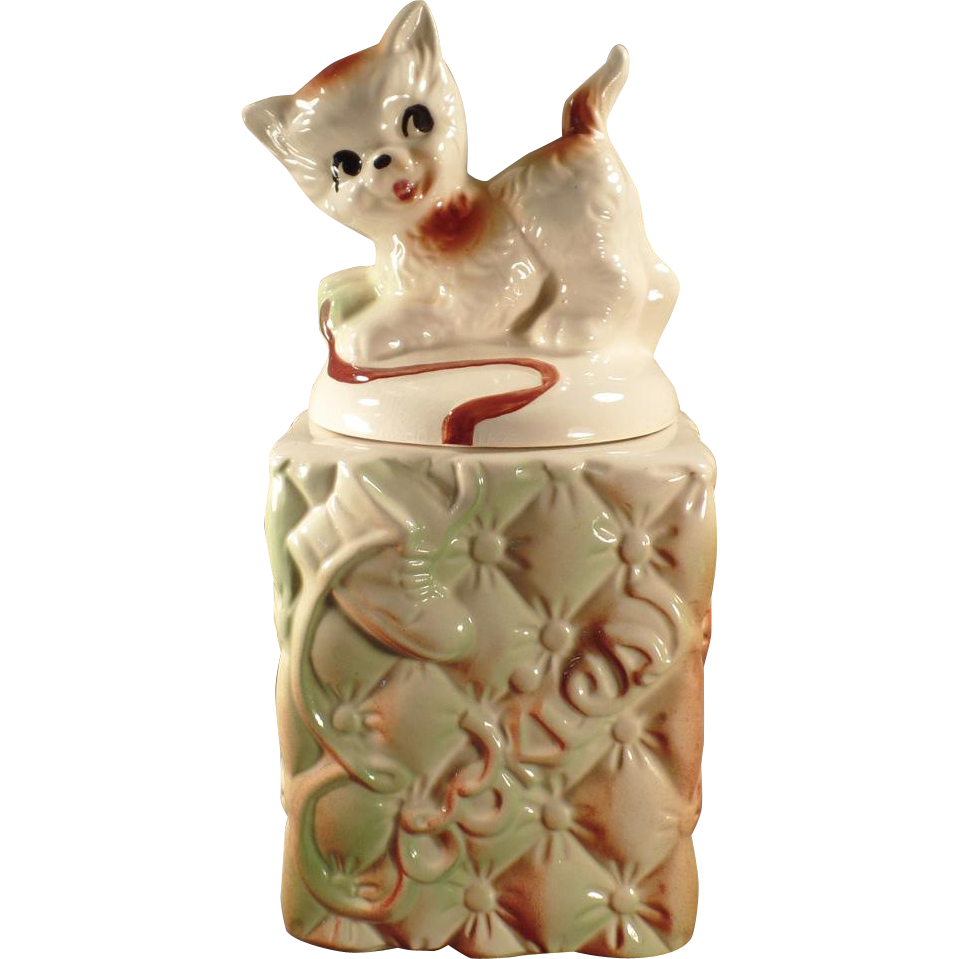 Vintage Cookie Jar - Kitten on Quilted Base - 1959 American Bisque