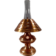 Vintage Copper Kerosene Oil Lamp with Aluminum Base