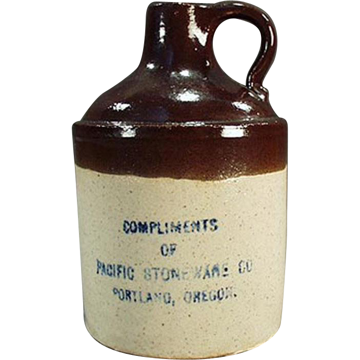 Vintage Miniature Stoneware Jug - Portland, Oregon Advertising