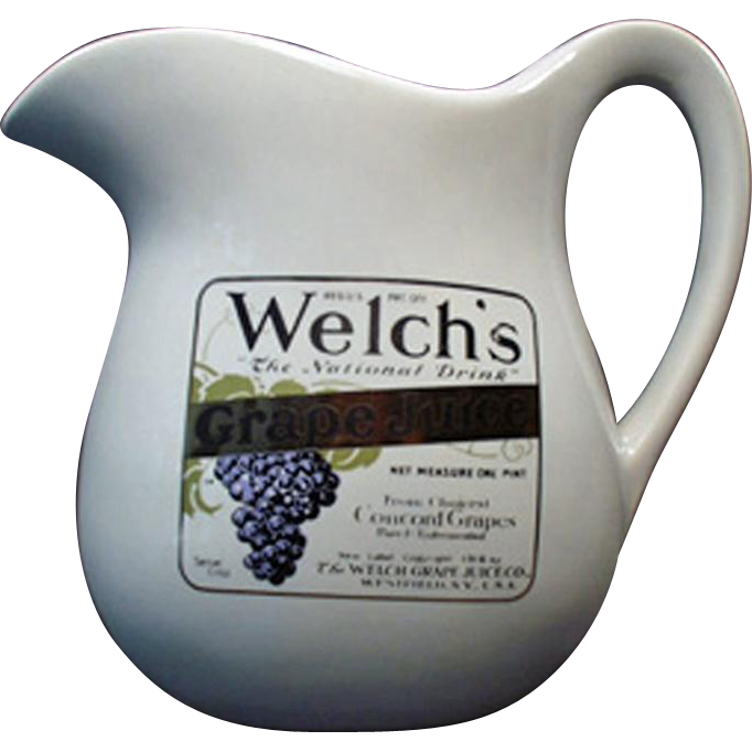 Vintage McCoy Pottery - Welch's Grape Juice Advertising Pitcher
