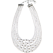 Vintage, 5 Strand Bead Necklace - White Glass Beads - Japan