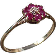 Sweet Vintage Ring - Delicate Flower Design with Rubies - 10k Gold