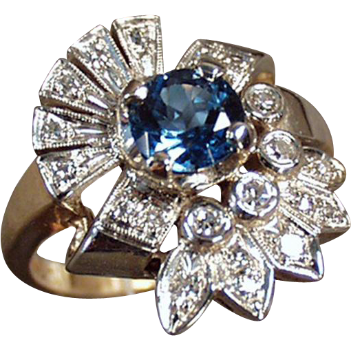 Ladies, Vintage Cocktail Ring - Blue Topaz and Diamonds - 14k, Yellow & White Gold