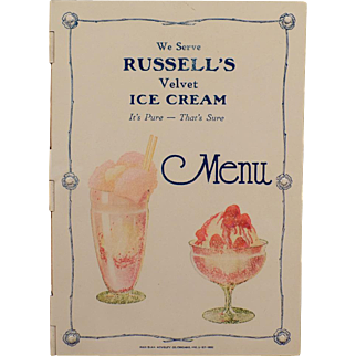 Vintage Celluloid Menu Cover - Russell's Ice Cream - Early 1900's