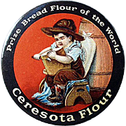 Vintage Celluloid Pocket Mirror - Ceresota Flour Advertising Mirror