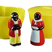 Vintage Aunt Jemima & Uncle Mose Cream & Sugar Set - Old F & F Plastic