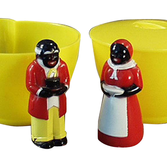 Vintage Aunt Jemima & Uncle Mose Cream & Sugar Set - Old F & F Plastic