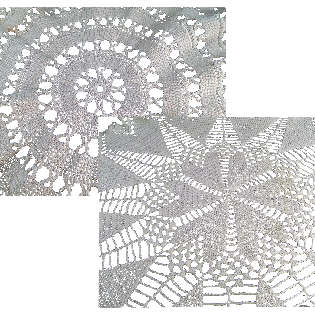Vintage Crocheted Doilies - Two Different Designs - Ecru