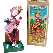 Vintage Celluloid Wind Up Toy - Sambo Monkey Guitarist with Original Box