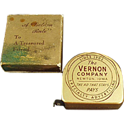 Vintage Advertising Tape Measure with Original Box - The Vernon Company