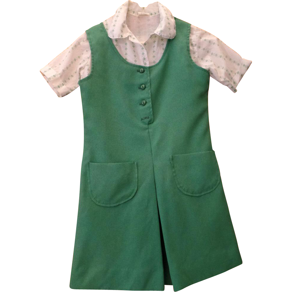 Vintage Girl Scout Uniform - Three Piece Outfit - Size 10 - 1970's