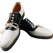 Men's Vintage Black and White Saddle Oxfords - Sherbrooke Size 9 1/2