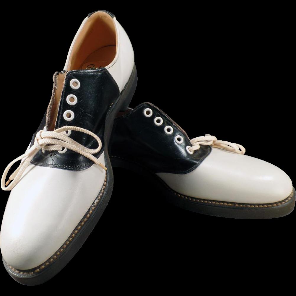 s vintage black and white saddle oxfords sherbrooke
