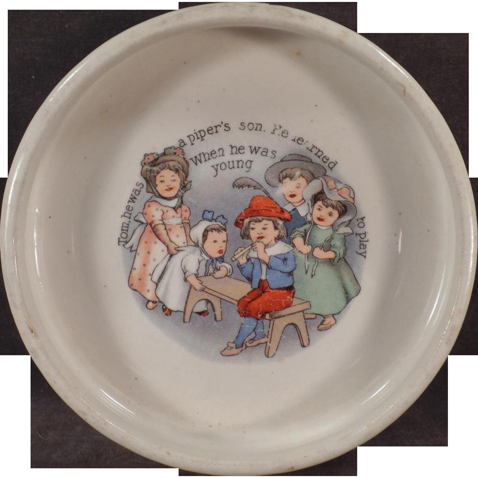 Vintage ABC Nursery Rhyme Baby Bowl - Tom the Piper's Son