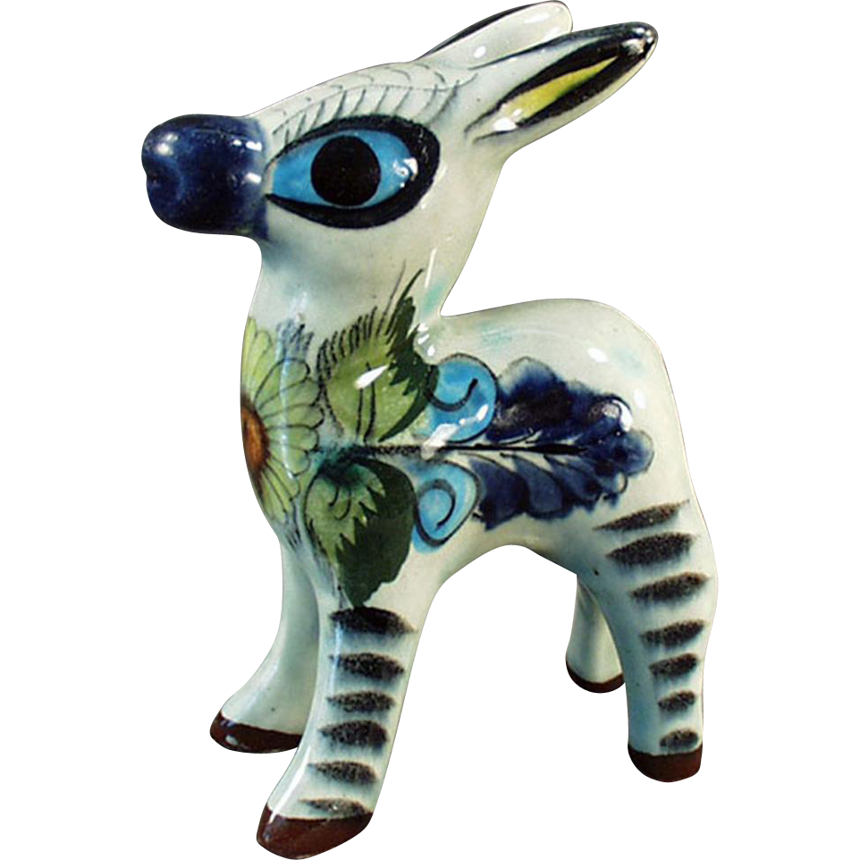 Old Mexican Pottery - Burro or Donkey Figurine