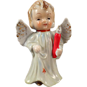 Vintage Porcelain Angel Figurine - Blonde Angel Carrying a Candle