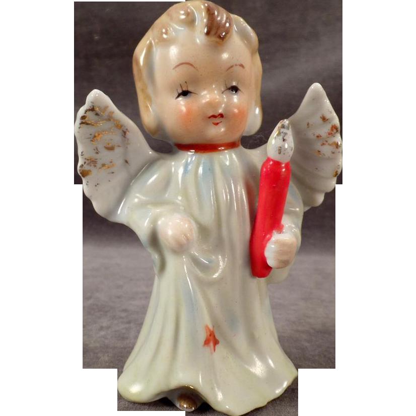 Vintage Porcelain Angel Figurine - Blonde Angel Carrying a Candle
