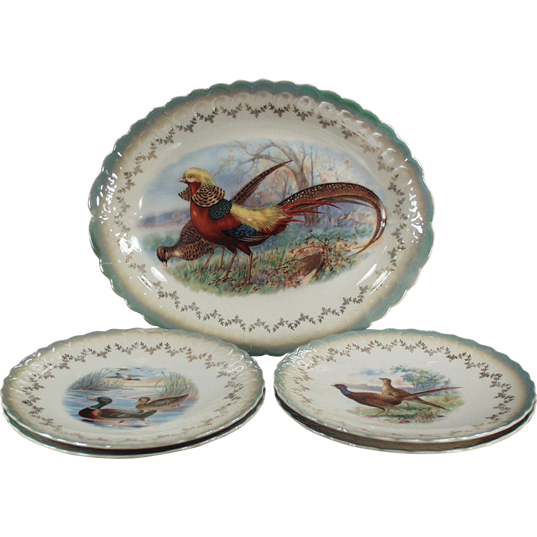 Vintage Bird Platter with 4 Plates - Sterling China - Beautiful Color and Detail