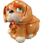 Vintage Porcelain Dresser Box - Puppy Dog - Germany