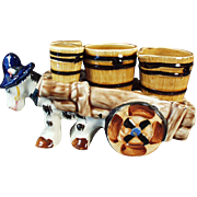Vintage Donkey Cart Condiment Set - Salt, Pepper, Cream & Sugar - Western Motif