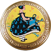 Vintage Compact with Adorable Little Girl on the Lid