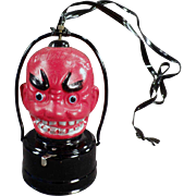 Vintage Halloween Lantern - Celluloid Devil - Battery Operated