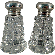 Vintage Salt & Pepper Set -  Crystal with Sterling Silver Lids