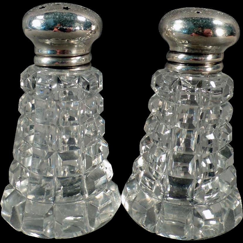 Vintage Salt & Pepper Set -  Crystal with Sterling Silver Lids