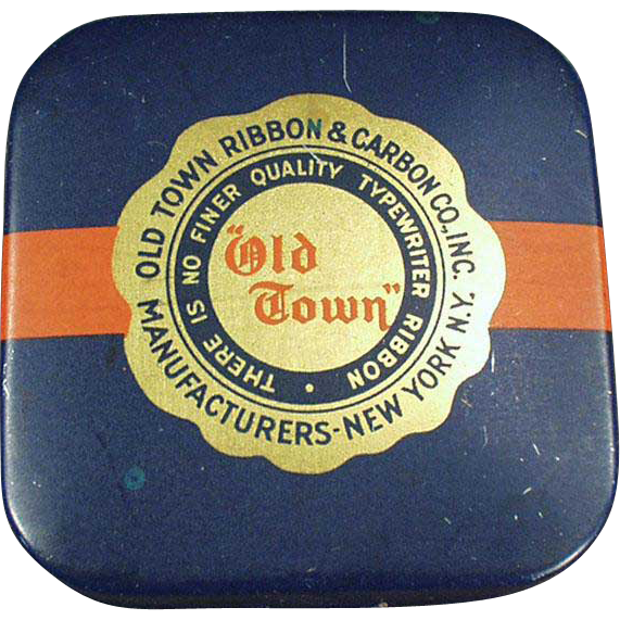 Vintage Typewriter Ribbon Tin - Old Town - Small Square Tin