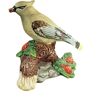 Vintage Porcelain Bisque Bird - Cedar Waxwing - Very Pretty Figurine