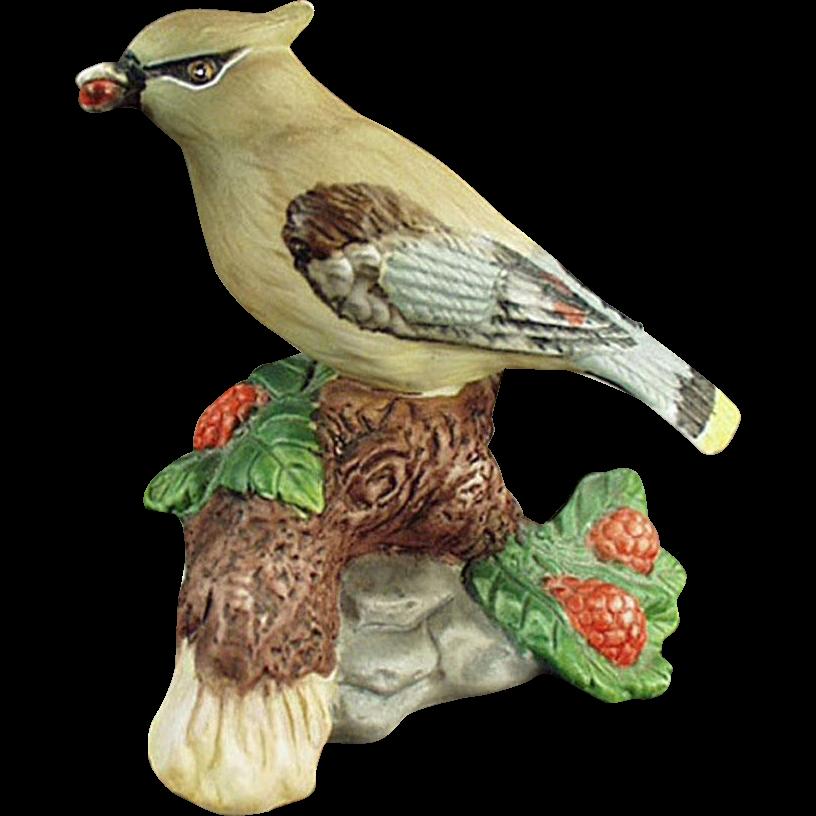 Vintage Porcelain Bisque Bird - Cedar Waxwing - Very Pretty Figurine