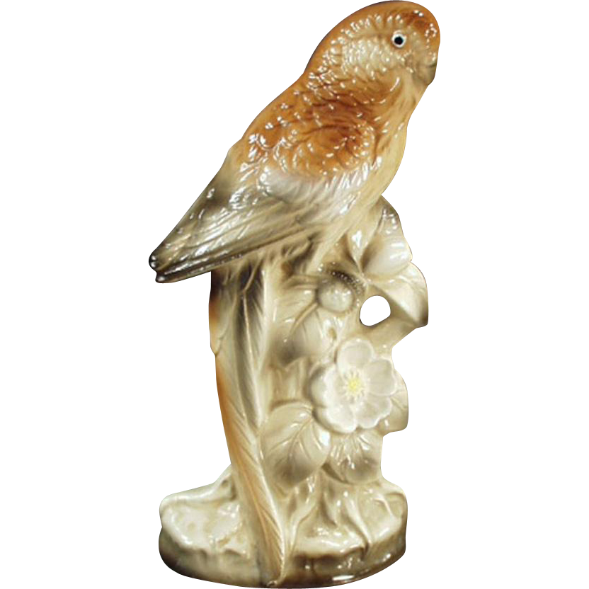 Vintage Bird Figurine - Porcelain Parakeet in Brown Tones