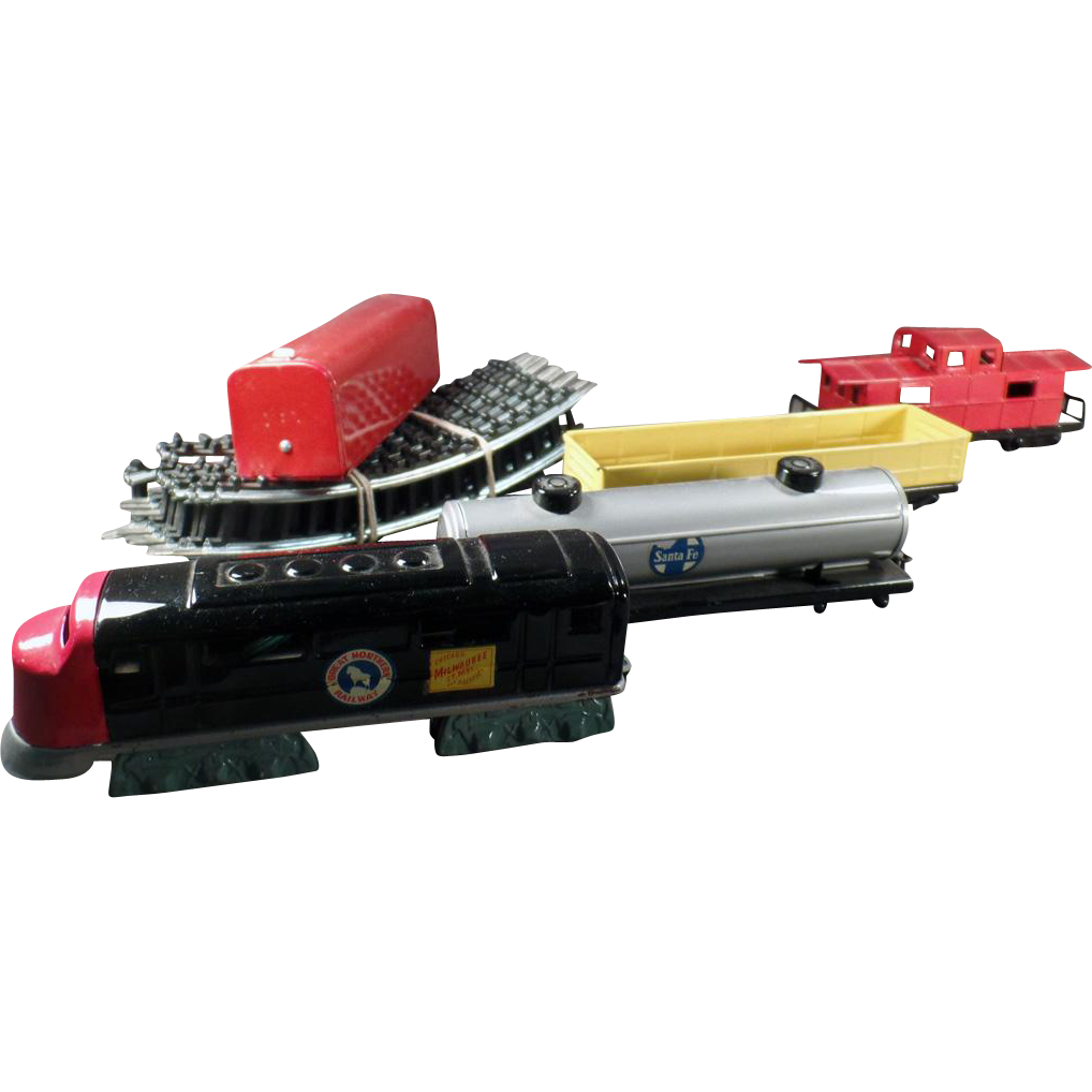 Vintage Battery Operated Train Set -  Bandai Japanese Tin