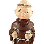 Vintage Musical Decanter - Robed Friar - Wind Up Music Ceramic Figure