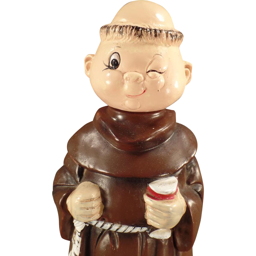 Vintage Musical Decanter - Robed Friar - Wind Up Music Ceramic Figure