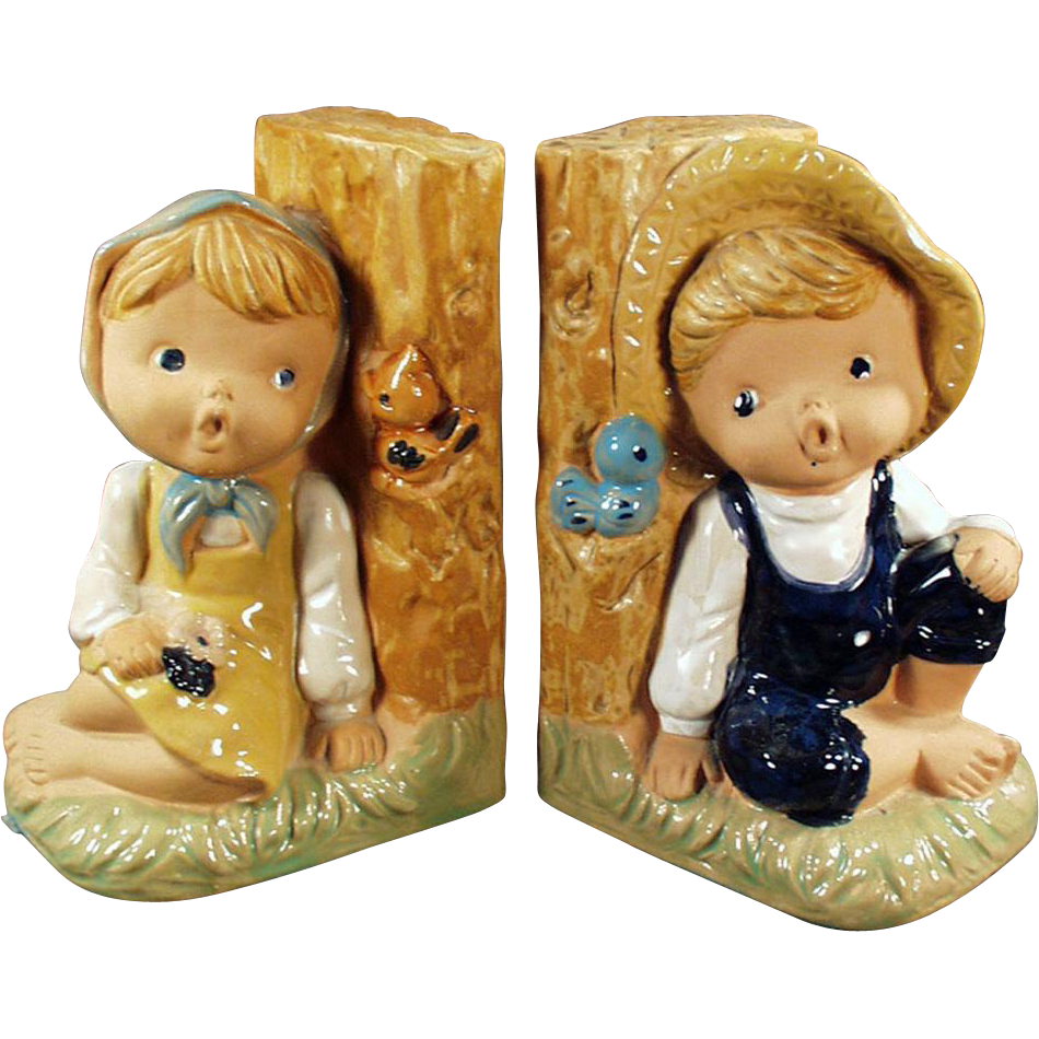 Vintage Pottery Bookends - Country Boy and Girl Figures - Enesco
