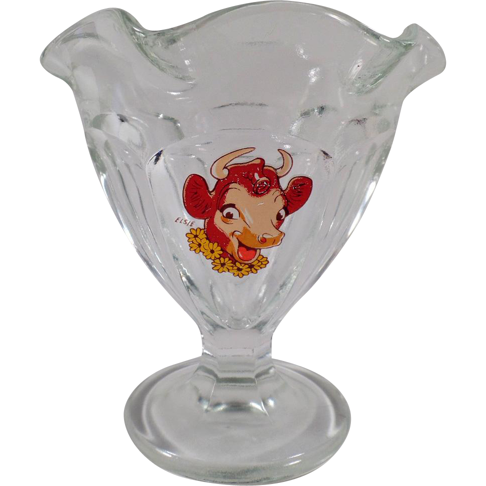 Vintage Elsie the Borden Cow Sherbet Dish - 4 Available