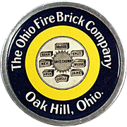 Vintage Celluloid Paperweight Advertising the Ohio Fire Brick Company