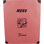Vintage Soda Fountain Menu - Fern's Restaurant - Fun Nostalgia from the 1950's