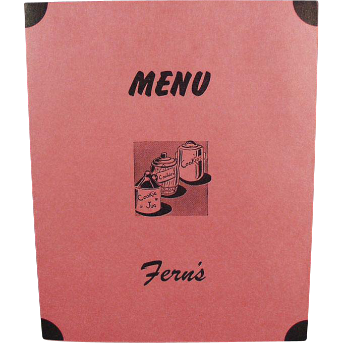 Vintage Soda Fountain Menu - Fern's Restaurant - Fun Nostalgia from the 1950's