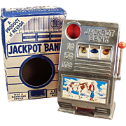 Vintage Jackpot Slot Machine Toy Penny Bank with Original Box