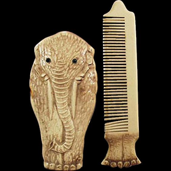 Vintage Moustache Comb - Figural Celluloid Elephant Novelty Comb