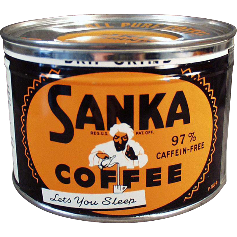 Vintage Key-Wind Coffee Tin - Sanka with Turbaned Man Logo